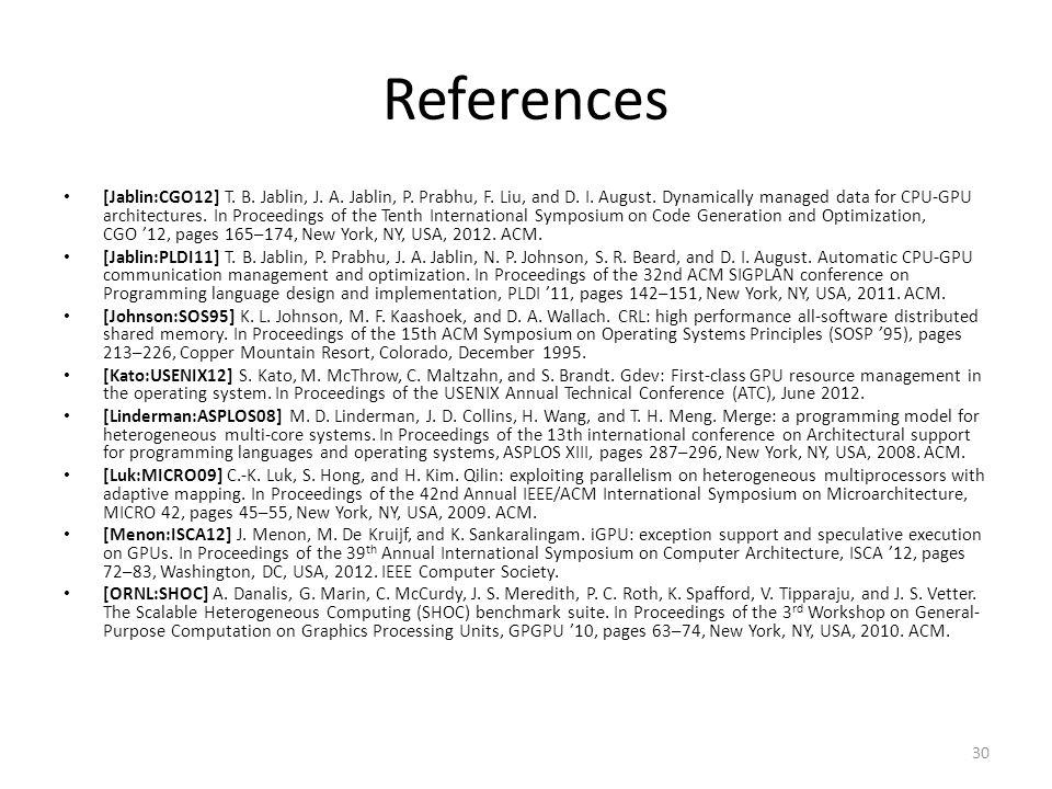 References [Jablin:CGO12] T. B. Jablin, J. A. Jablin, P.