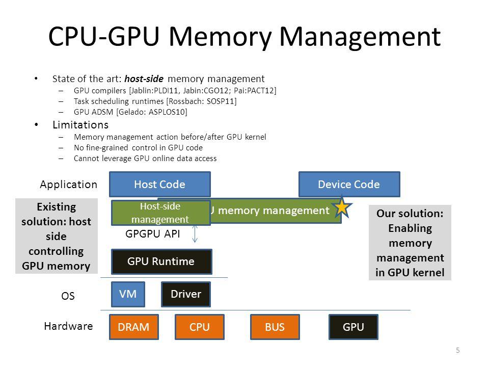 CPU-GPU Memory Management State of the art: host-side memory management – GPU compilers [Jablin:PLDI11, Jabin:CGO12; Pai:PACT12] – Task scheduling runtimes [Rossbach: SOSP11] – GPU ADSM [Gelado: ASPLOS10] Limitations – Memory management action before/after GPU kernel – No fine-grained control in GPU code – Cannot leverage GPU online data access GPU Runtime VMDriver DRAMCPUBUSGPU Host CodeDevice Code GPGPU API Application OS Hardware 5 CPU-GPU memory management Our solution: Enabling memory management in GPU kernel Host-side management Existing solution: host side controlling GPU memory