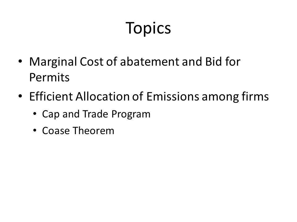 Bid as a function of emissions Bid = change in total cost/change in pollute Bid tons of E emitted (units of air used up)