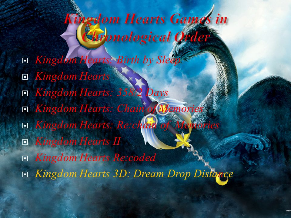  Kingdom Hearts: Birth by Sleep  Kingdom Hearts  Kingdom Hearts: 358/2 Days  Kingdom Hearts: Chain of Memories  Kingdom Hearts: Re:chain of Memories  Kingdom Hearts II  Kingdom Hearts Re:coded  Kingdom Hearts 3D: Dream Drop Distance