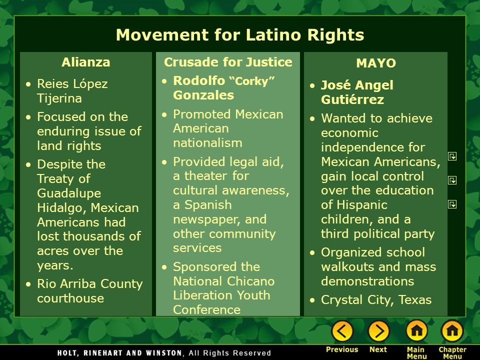 Alianza Reies López Tijerina Focused on the enduring issue of land rights Despite the Treaty of Guadalupe Hidalgo, Mexican Americans had lost thousand