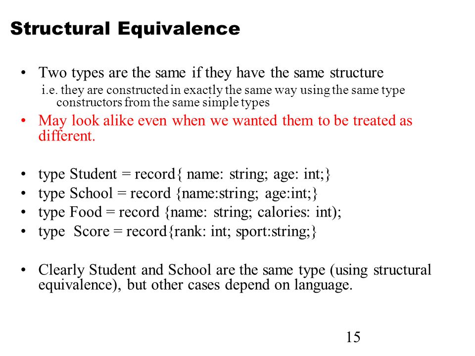 15 Structural Equivalence Two types are the same if they have the same structure i.e.