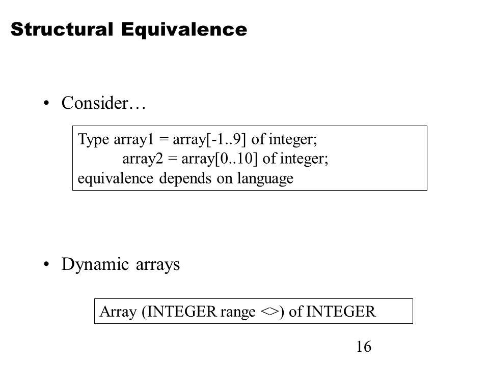 16 Structural Equivalence Consider… Dynamic arrays Type array1 = array[-1..9] of integer; array2 = array[0..10] of integer; equivalence depends on language Array (INTEGER range <>) of INTEGER