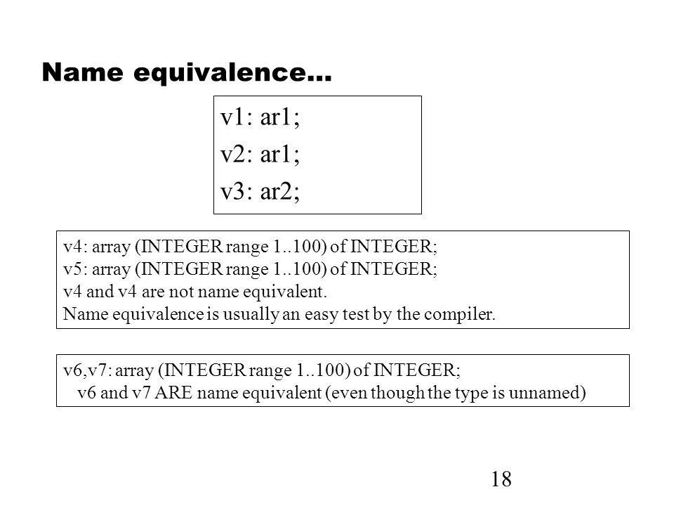 18 Name equivalence… v1: ar1; v2: ar1; v3: ar2; v4: array (INTEGER range 1..100) of INTEGER; v5: array (INTEGER range 1..100) of INTEGER; v4 and v4 are not name equivalent.