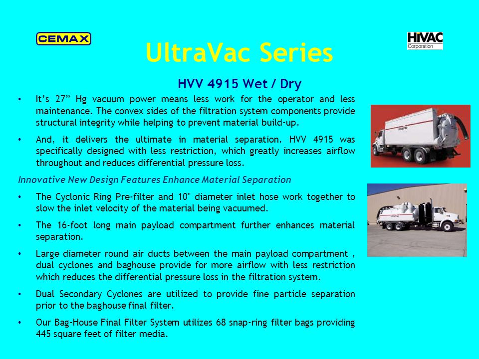 UltraVac Series ECV 5015 Single mode filtration, multi-stage.