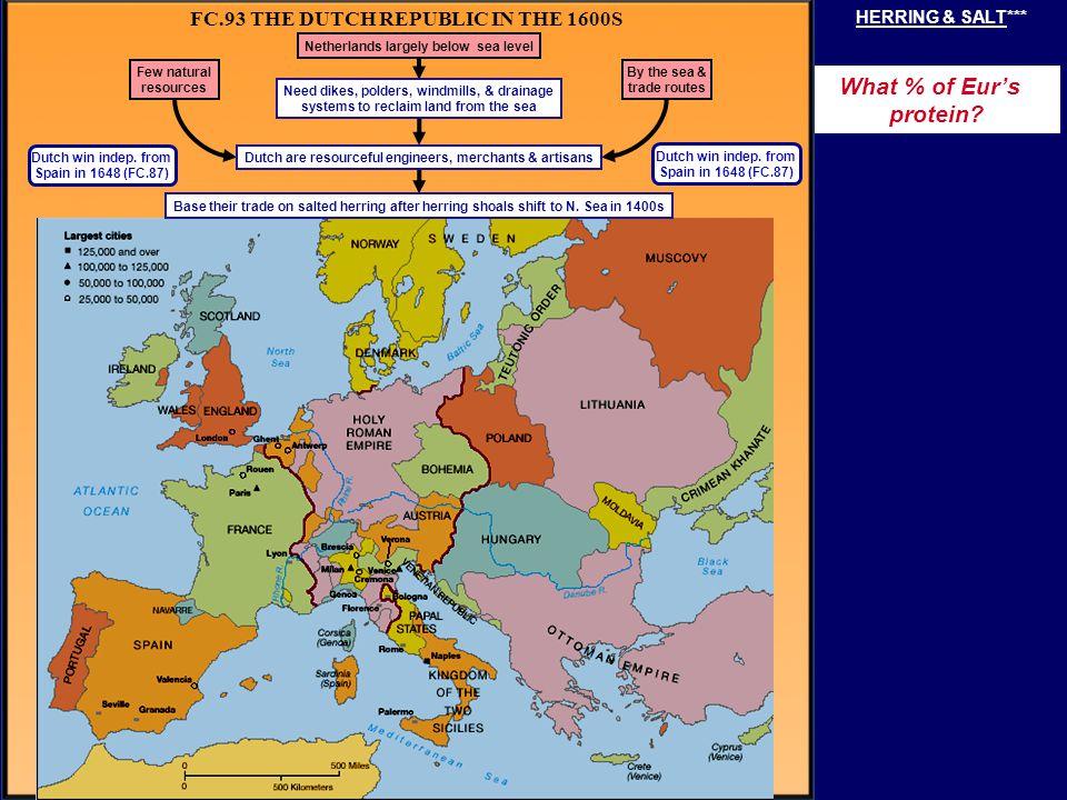 FC.93 THE DUTCH REPUBLIC IN THE 1600S Dutch win indep. from Spain in 1648 (FC.87) Dutch win indep. from Spain in 1648 (FC.87) Few natural resources Ne