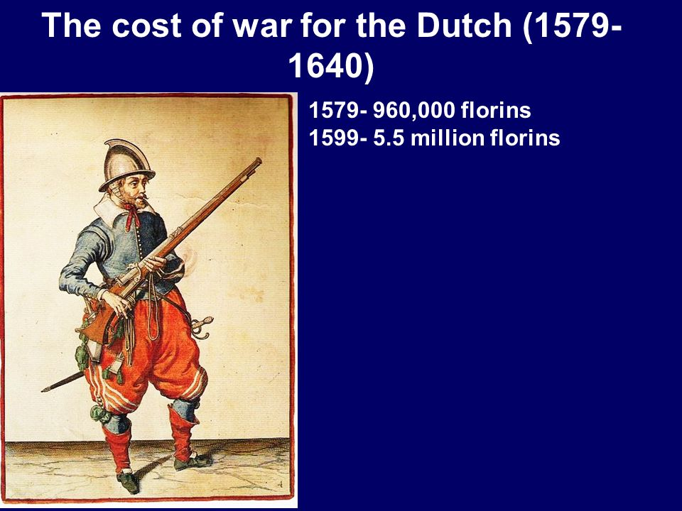 The cost of war for the Dutch (1579- 1640) 1579- 960,000 florins 1599- 5.5 million florins