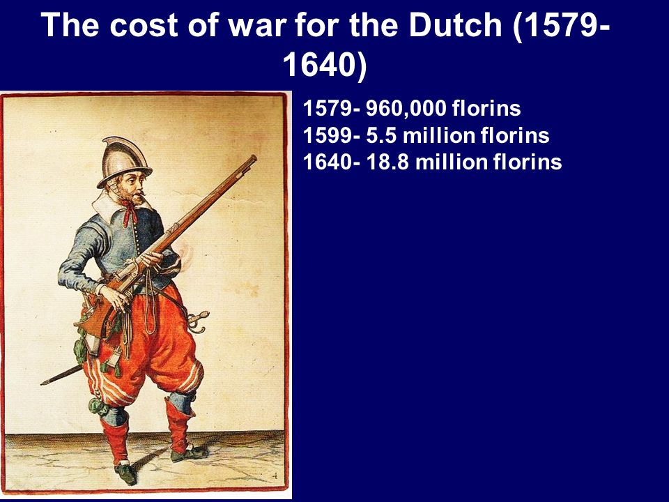 The cost of war for the Dutch (1579- 1640) 1579- 960,000 florins 1599- 5.5 million florins 1640- 18.8 million florins