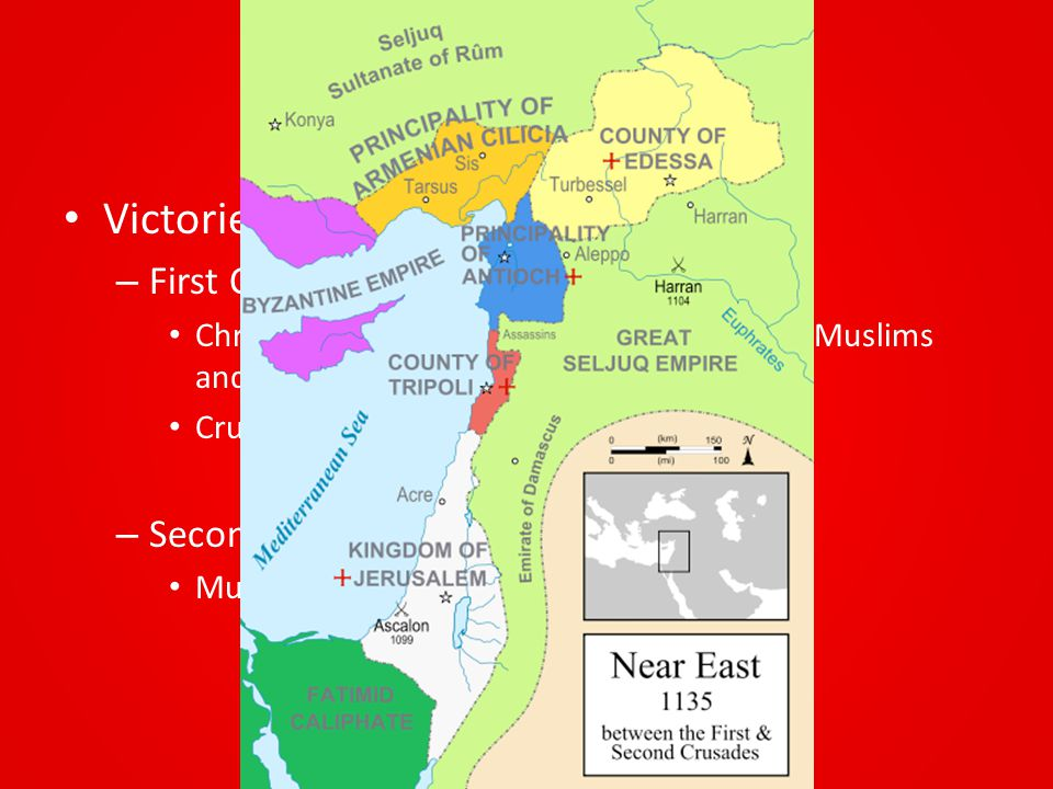 The Crusades Victories and Defeats: – First Crusade (1099) Christians capture Jerusalem and massacre Muslims and Jews Crusaders divide land into 4 sma