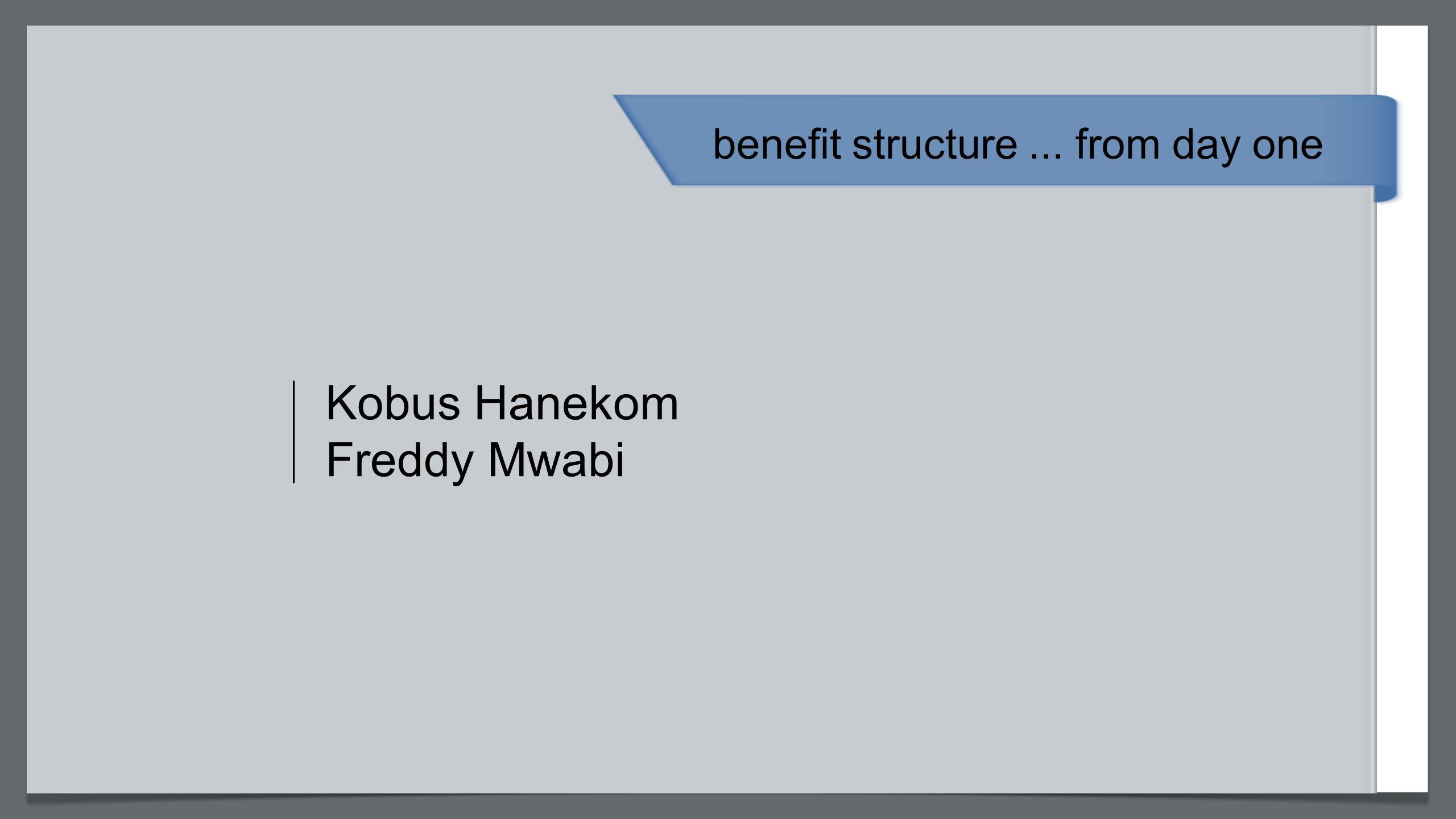 Kobus Hanekom Freddy Mwabi benefit structure... from day one