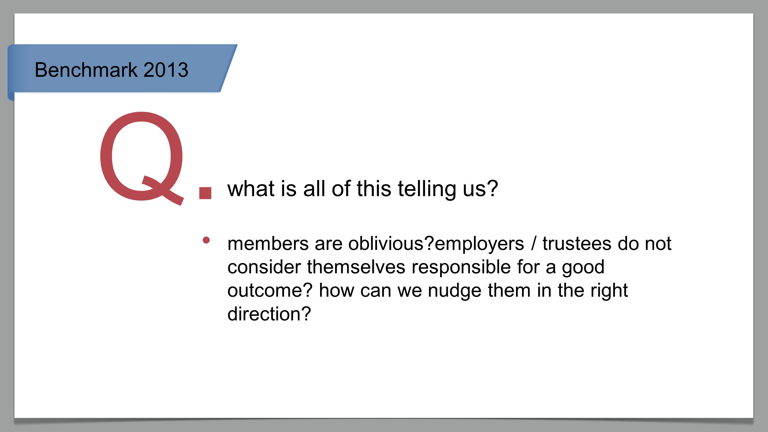 Benchmark 2013 what is all of this telling us? Q. members are oblivious?employers / trustees do not consider themselves responsible for a good outcome