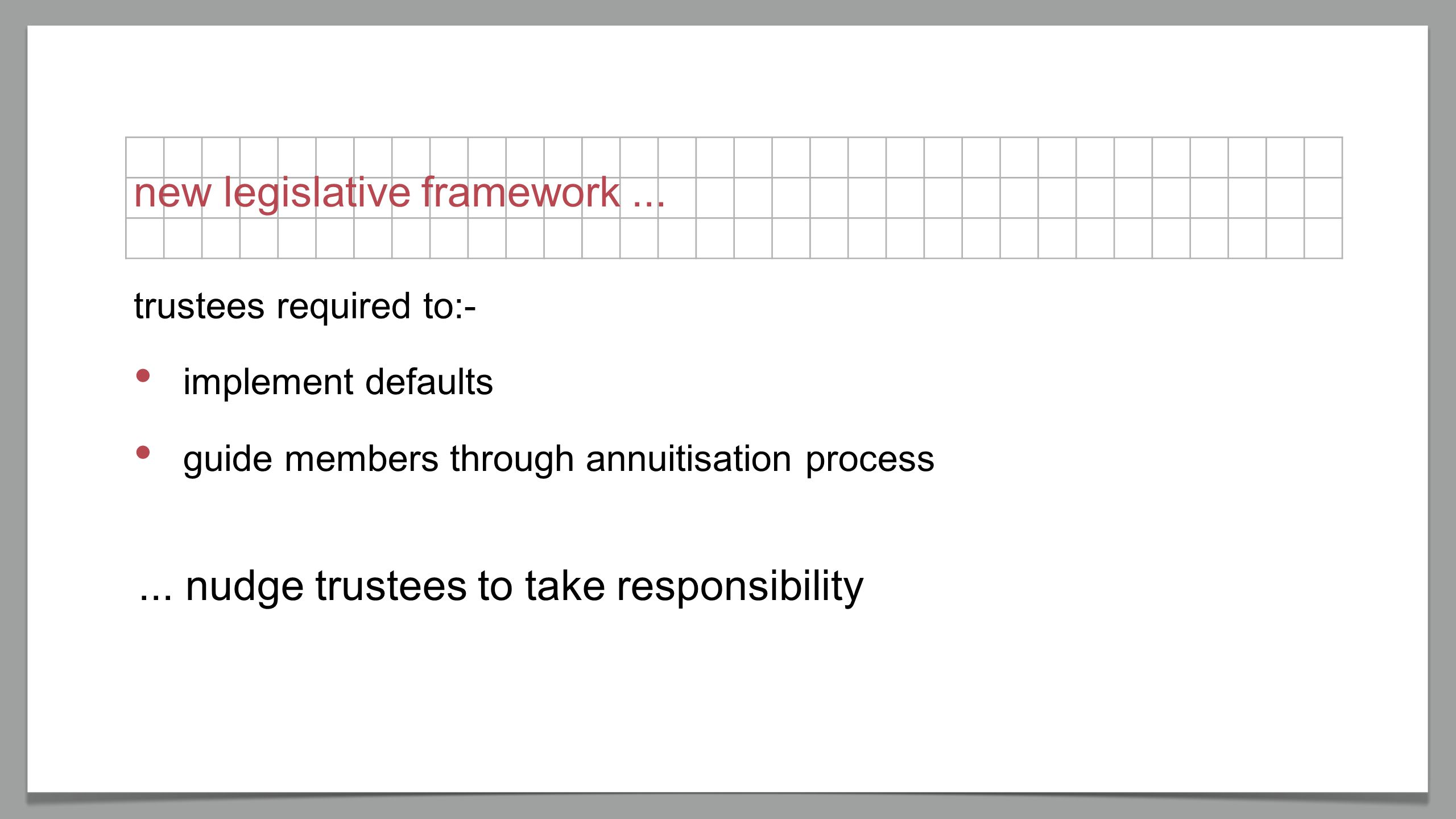 new legislative framework... implement defaults guide members through annuitisation process...