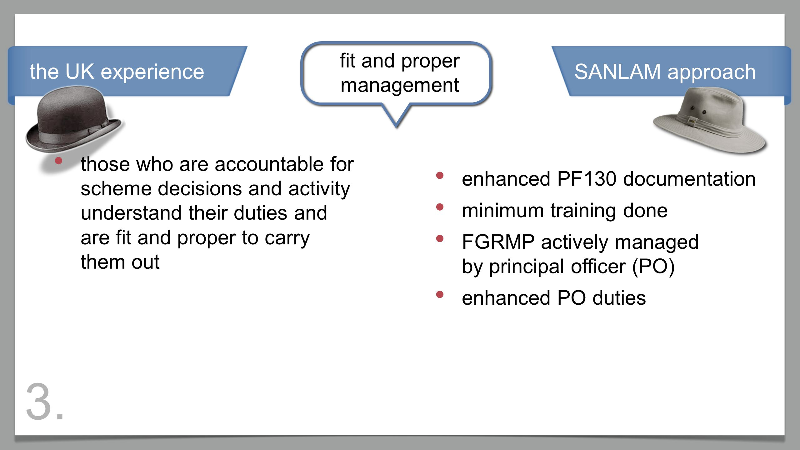 the UK experience fit and proper management those who are accountable for scheme decisions and activity understand their duties and are fit and proper to carry them out enhanced PF130 documentation minimum training done FGRMP actively managed by principal officer (PO) enhanced PO duties SANLAM approach 3.