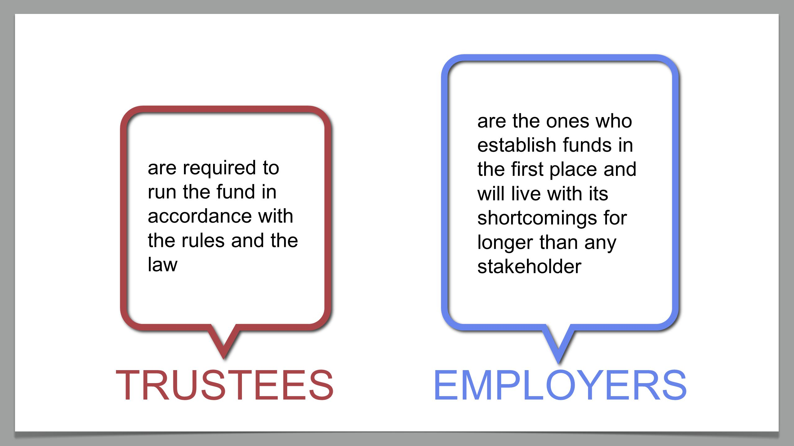 EMPLOYERSTRUSTEES are required to run the fund in accordance with the rules and the law are the ones who establish funds in the first place and will live with its shortcomings for longer than any stakeholder