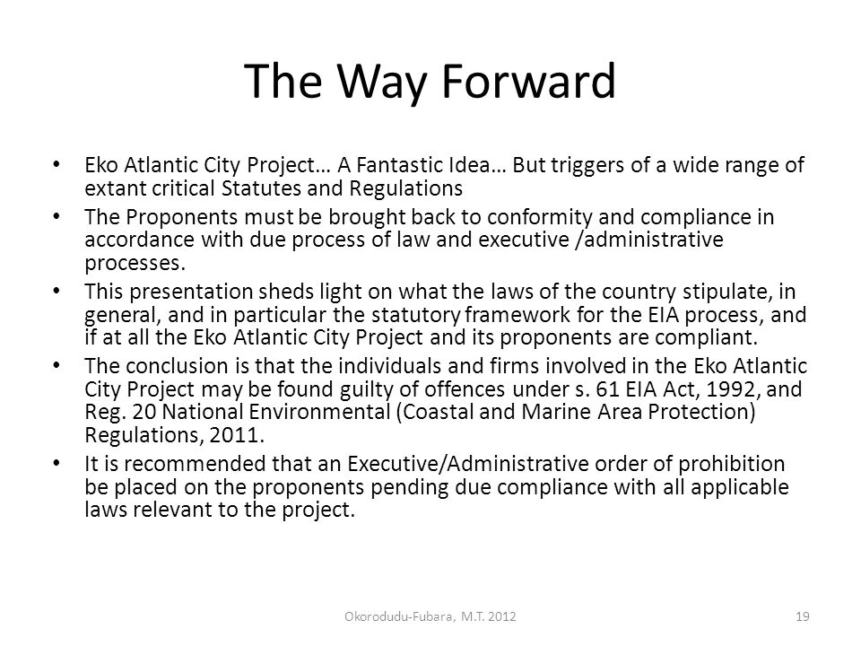 The Way Forward Eko Atlantic City Project… A Fantastic Idea… But triggers of a wide range of extant critical Statutes and Regulations The Proponents must be brought back to conformity and compliance in accordance with due process of law and executive /administrative processes.