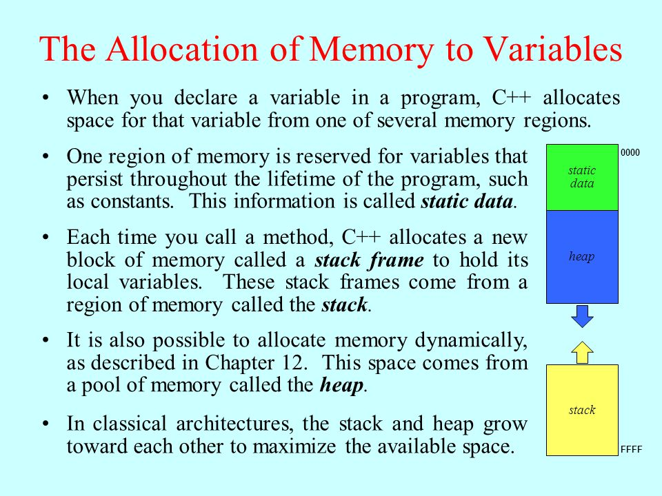 The Allocation of Memory to Variables When you declare a variable in a program, C++ allocates space for that variable from one of several memory regions.