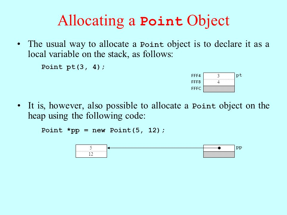 pt FFFC FFF8 FFF4 3 4 Allocating a Point Object The usual way to allocate a Point object is to declare it as a local variable on the stack, as follows: Point pt(3, 4); It is, however, also possible to allocate a Point object on the heap using the following code: Point *pp = new Point(5, 12); pp FFFC FFF8 1000 1004 1000 5 12 pp 5 12
