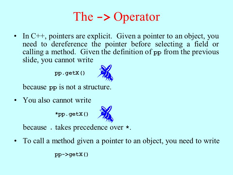 The -> Operator In C++, pointers are explicit.