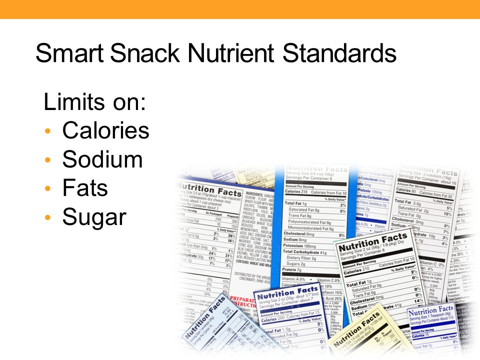Smart Snack Nutrient Standards Limits on: Calories Sodium Fats Sugar