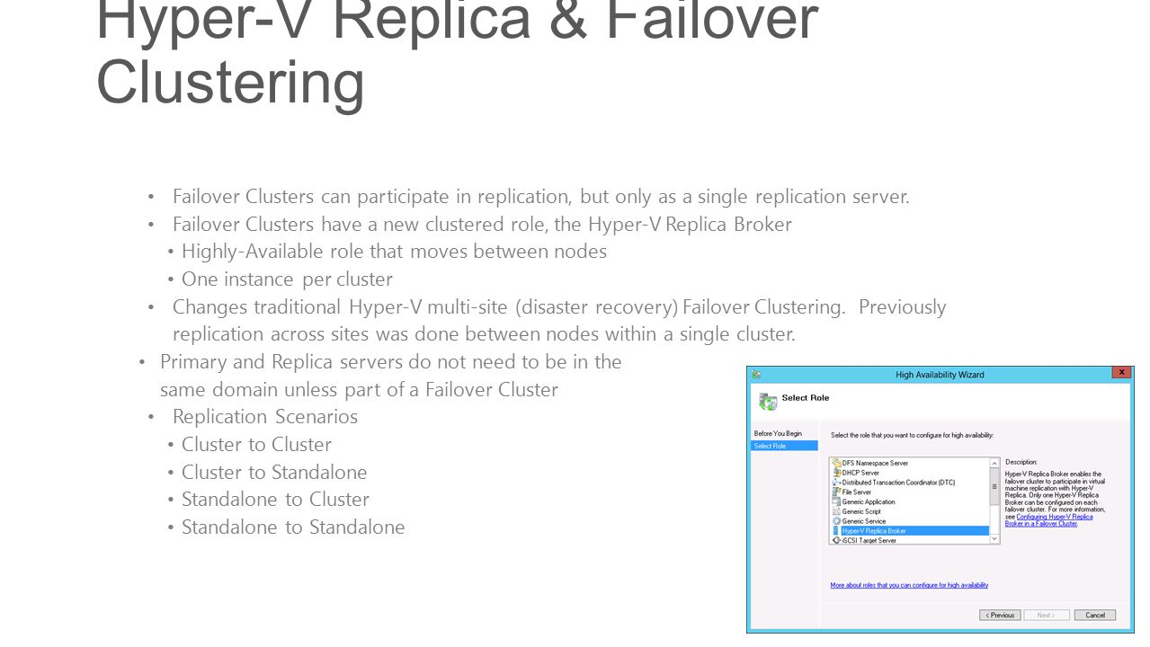 Hyper-V Replica & Failover Clustering Failover Clusters can participate in replication, but only as a single replication server.