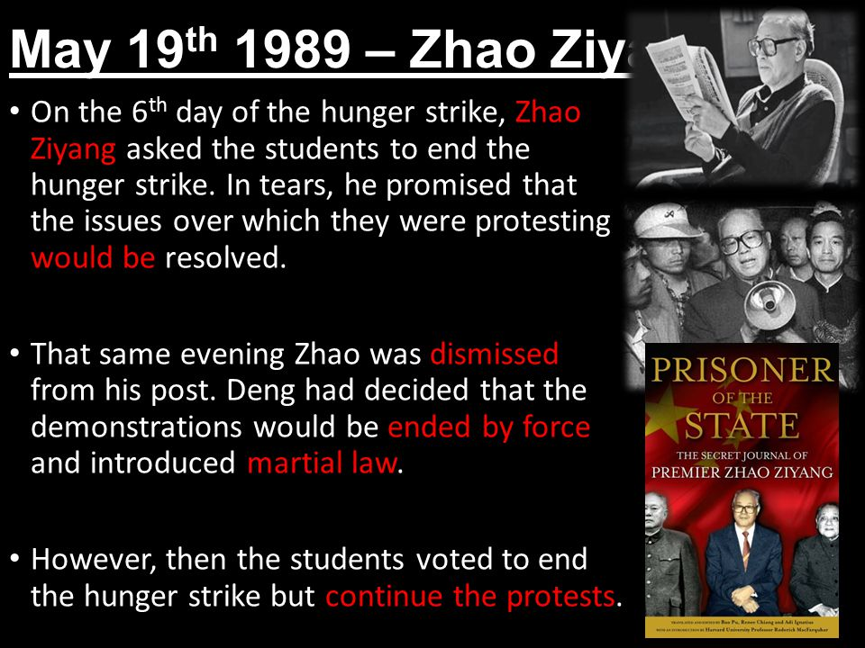 May 19 th 1989 – Zhao Ziyang On the 6 th day of the hunger strike, Zhao Ziyang asked the students to end the hunger strike.