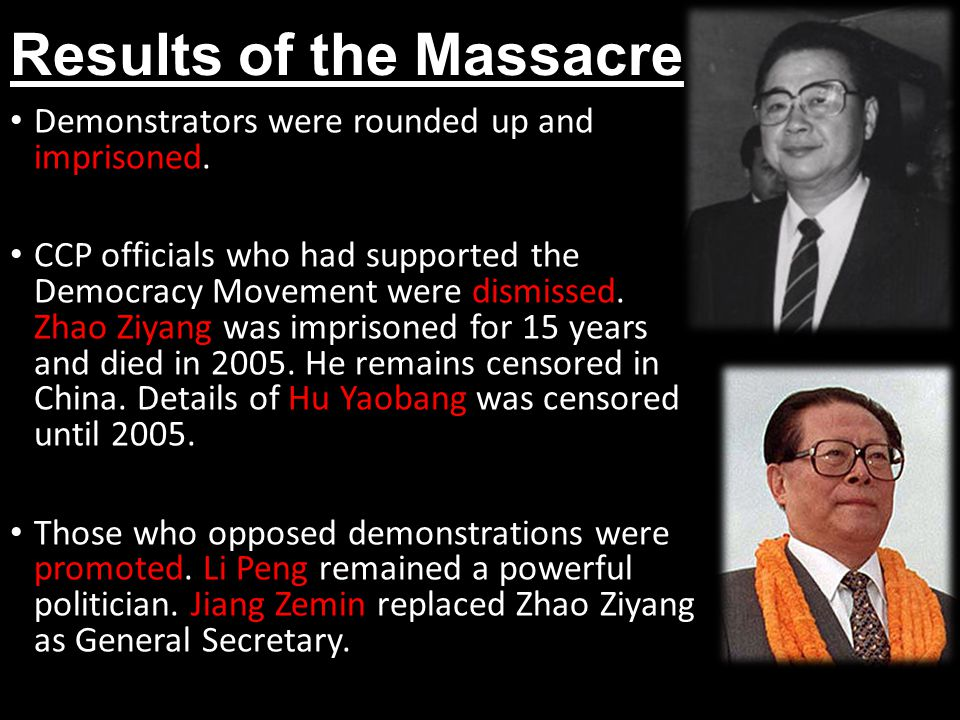 Results of the Massacre Demonstrators were rounded up and imprisoned.