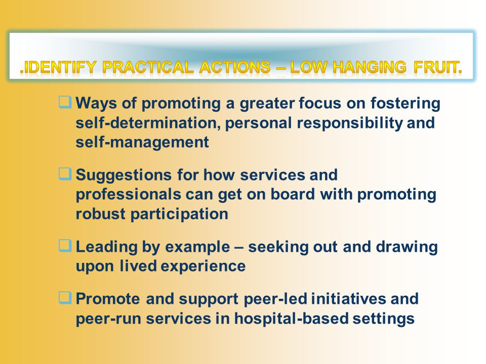  Ways of promoting a greater focus on fostering self-determination, personal responsibility and self-management  Suggestions for how services and professionals can get on board with promoting robust participation  Leading by example – seeking out and drawing upon lived experience  Promote and support peer-led initiatives and peer-run services in hospital-based settings