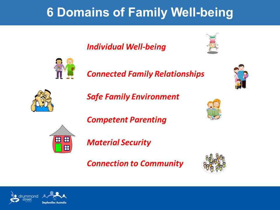 6 Domains of Family Well-being Individual Well-being Connected Family Relationships Safe Family Environment Competent Parenting Material Security Connection to Community