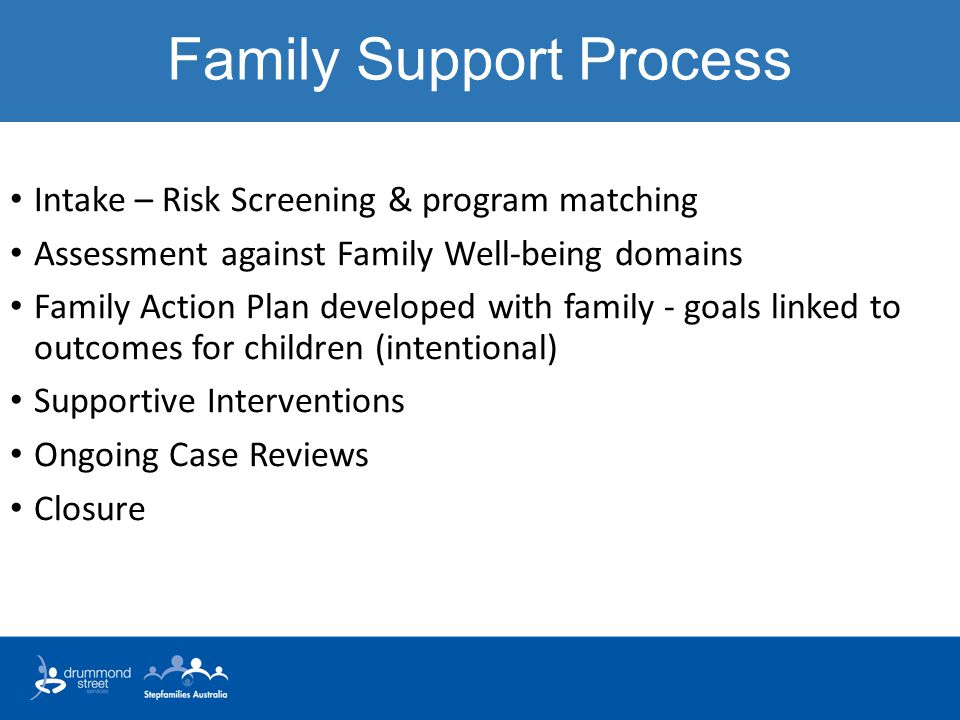 Family Support Process Intake – Risk Screening & program matching Assessment against Family Well-being domains Family Action Plan developed with family - goals linked to outcomes for children (intentional) Supportive Interventions Ongoing Case Reviews Closure