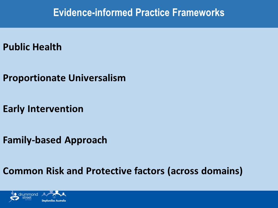 Evidence-informed Practice Frameworks Public Health Proportionate Universalism Early Intervention Family-based Approach Common Risk and Protective factors (across domains)