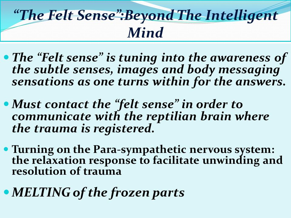 The Felt Sense :Beyond The Intelligent Mind The Felt sense is tuning into the awareness of the subtle senses, images and body messaging sensations as one turns within for the answers.