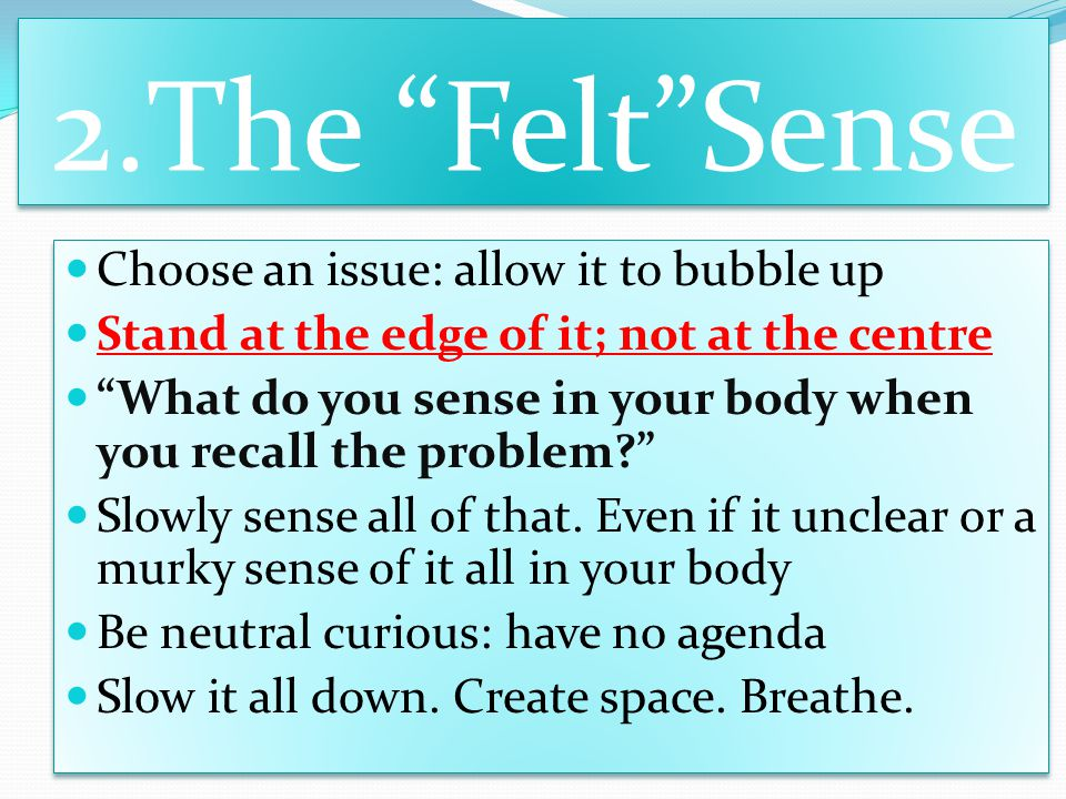 2.The Felt Sense Choose an issue: allow it to bubble up Stand at the edge of it; not at the centre What do you sense in your body when you recall the problem? Slowly sense all of that.