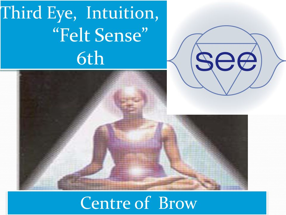 Centre of Brow Third Eye, Intuition, Felt Sense 6th