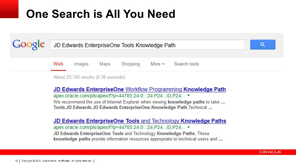 Copyright © 2013, Oracle and/or its affiliates. All rights reserved. 18 One Search is All You Need