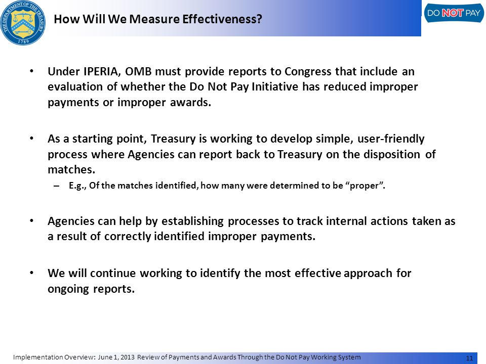 How Will We Measure Effectiveness.