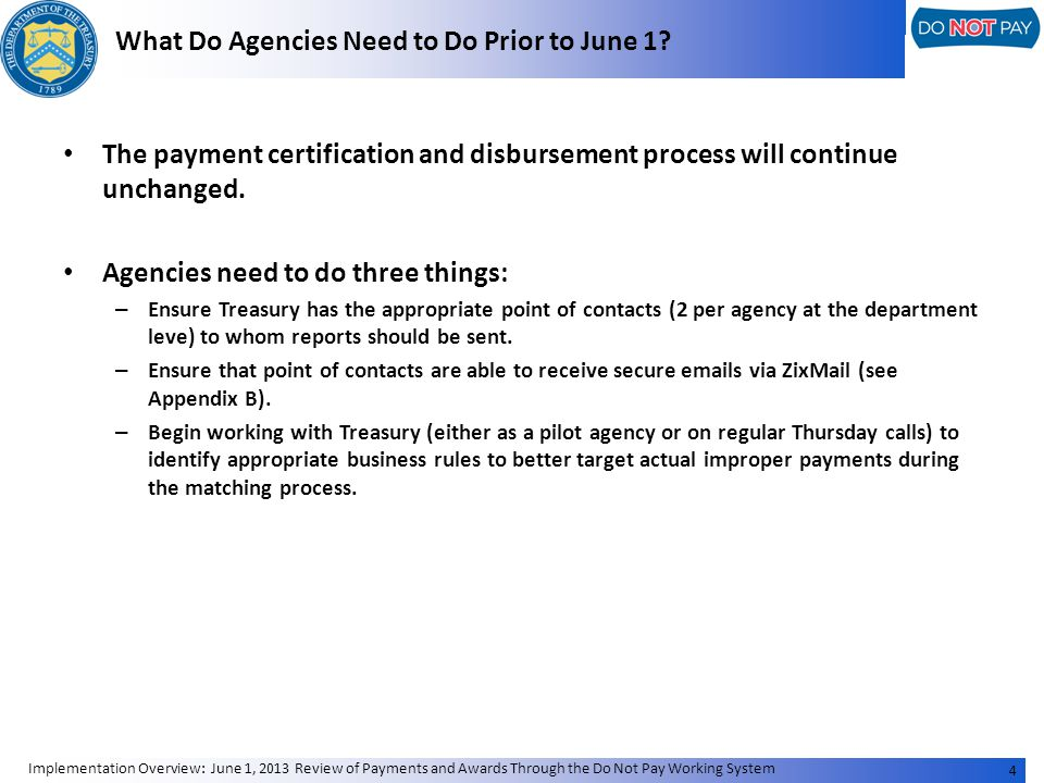What Do Agencies Need to Do Prior to June 1.