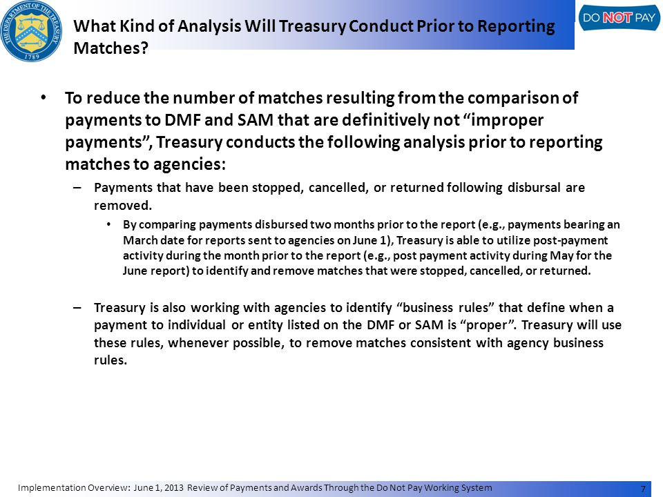What Kind of Analysis Will Treasury Conduct Prior to Reporting Matches.