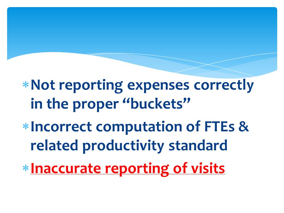  Not reporting expenses correctly in the proper buckets  Incorrect computation of FTEs & related productivity standard  Inaccurate reporting of visits
