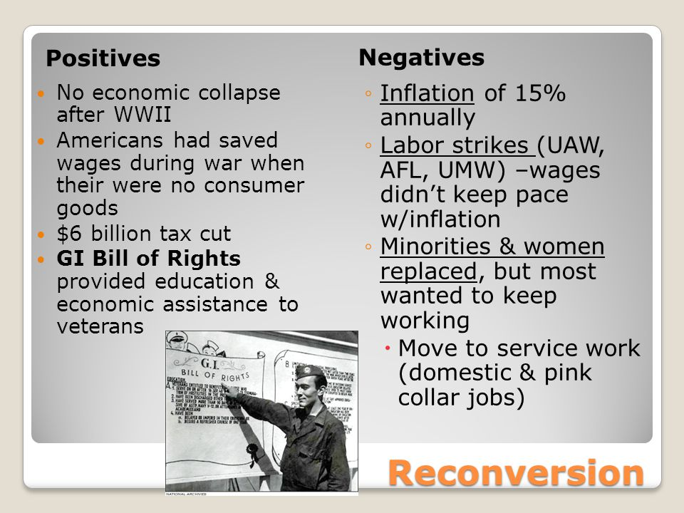 Reconversion Positives Negatives No economic collapse after WWII Americans had saved wages during war when their were no consumer goods $6 billion tax cut GI Bill of Rights provided education & economic assistance to veterans ◦Inflation of 15% annually ◦Labor strikes (UAW, AFL, UMW) –wages didn't keep pace w/inflation ◦Minorities & women replaced, but most wanted to keep working  Move to service work (domestic & pink collar jobs)