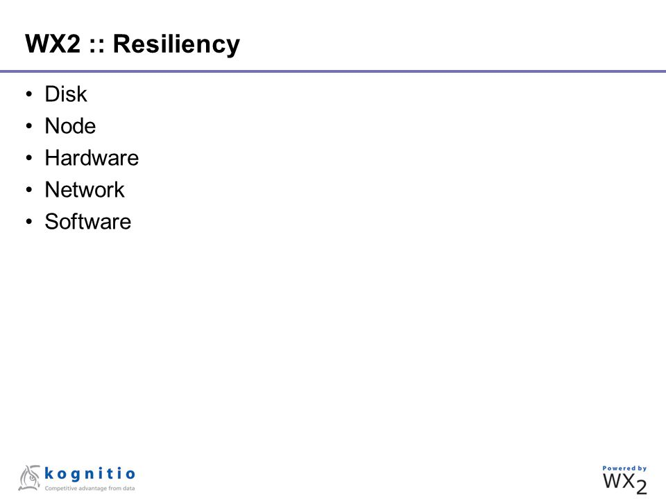 WX2 :: Resiliency Disk Node Hardware Network Software
