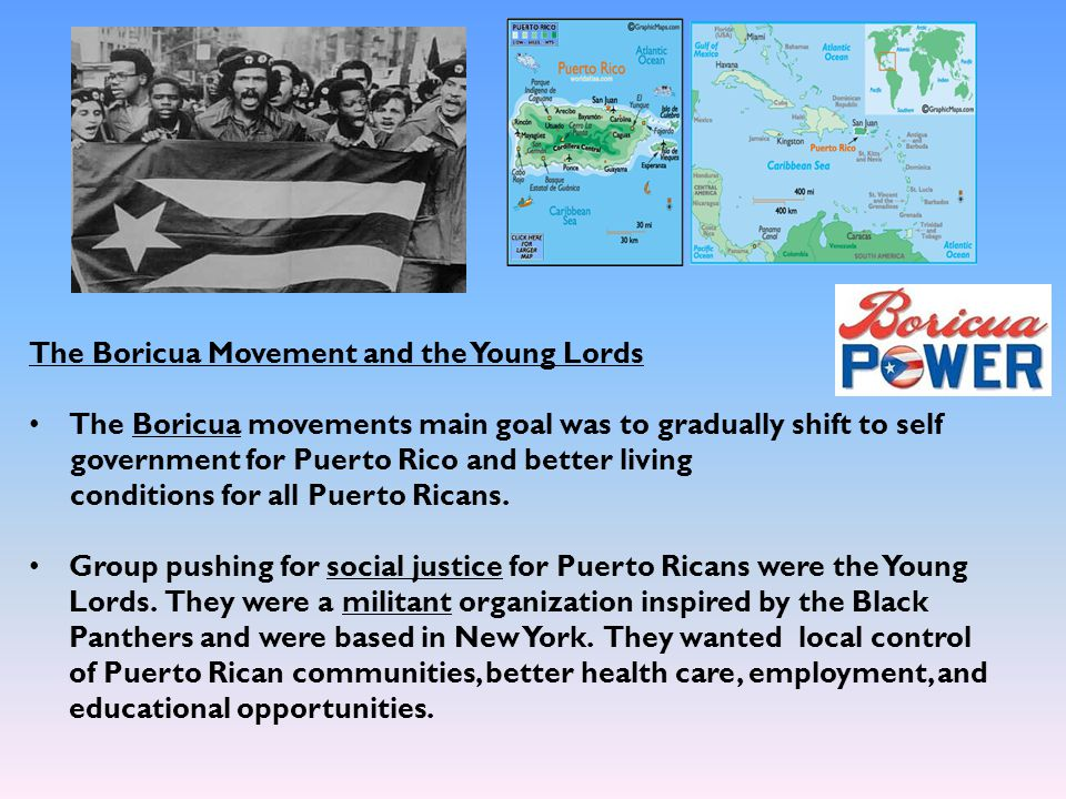 The Boricua Movement and the Young Lords The Boricua movements main goal was to gradually shift to self government for Puerto Rico and better living c