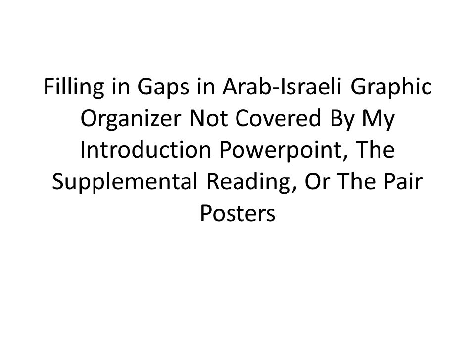Filling in Gaps in Arab-Israeli Graphic Organizer Not Covered By My Introduction Powerpoint, The Supplemental Reading, Or The Pair Posters