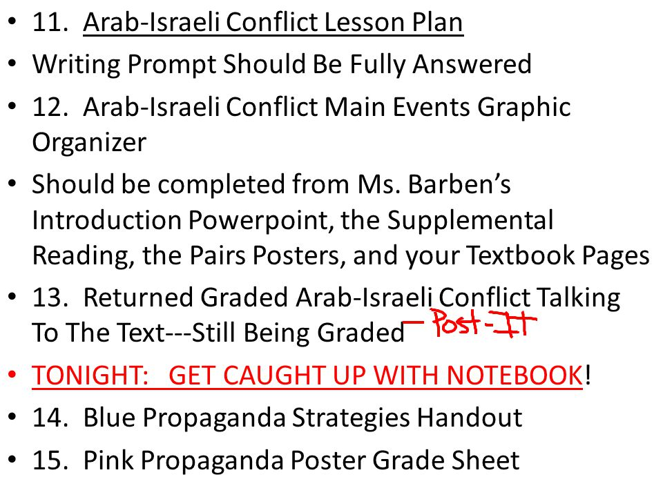 11. Arab-Israeli Conflict Lesson Plan Writing Prompt Should Be Fully Answered 12.