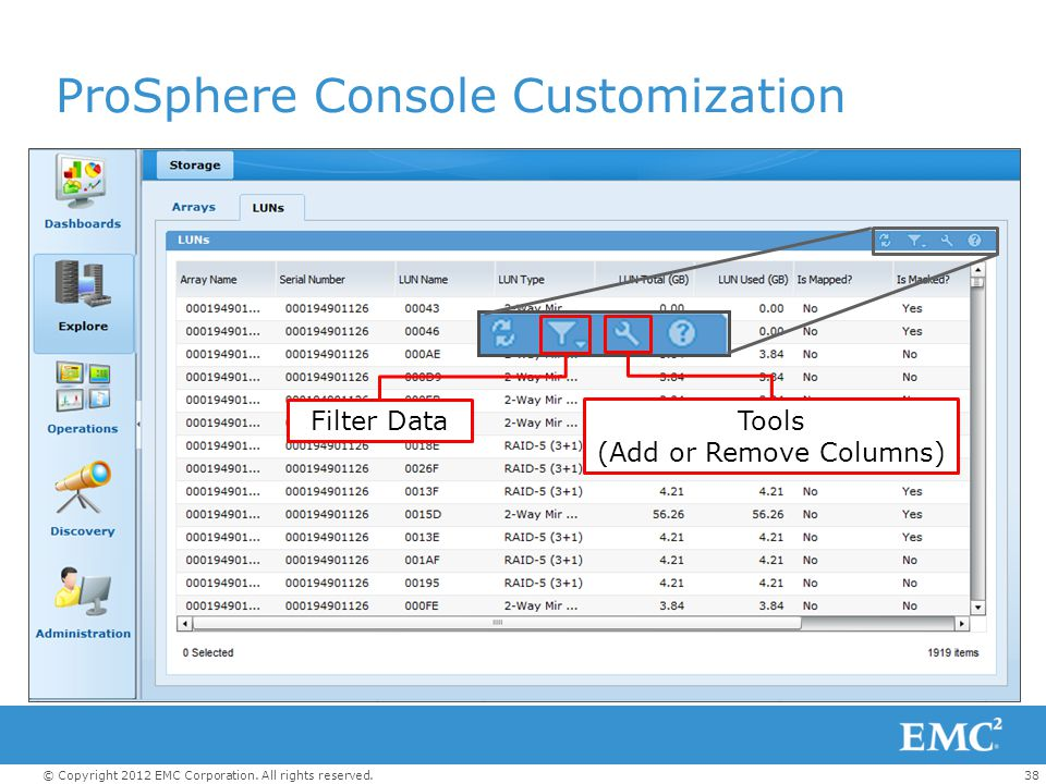 38© Copyright 2012 EMC Corporation. All rights reserved. ProSphere Console Customization Filter Data Tools (Add or Remove Columns)