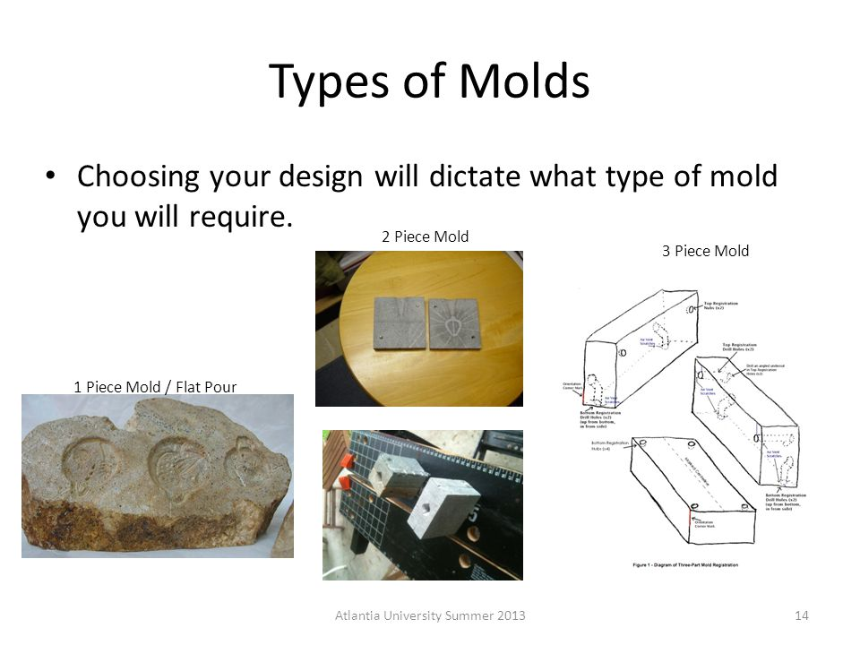 Types of Molds Choosing your design will dictate what type of mold you will require.