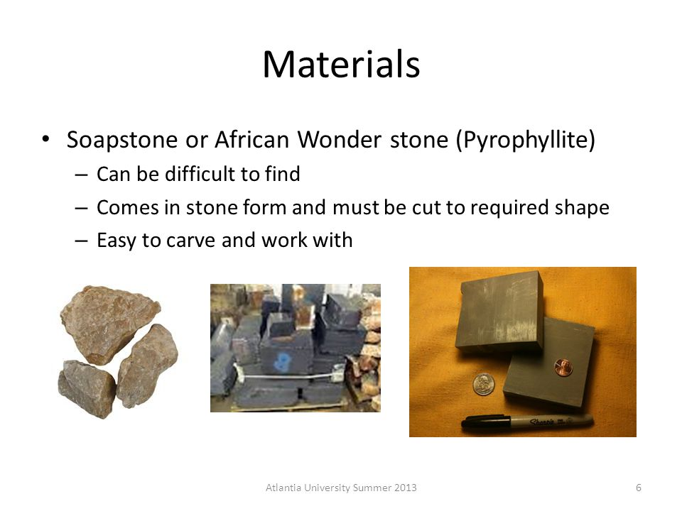 Tools used in Pewter Casting Files Wood Carving gouges Diamond tipped Dremel bits / Dremel tool Just about anything (nails, files, etc) 7Atlantia University Summer 2013