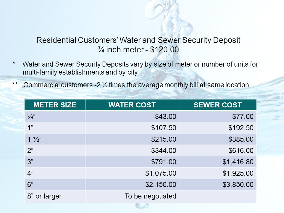 * Water and Sewer Security Deposits vary by size of meter or number of units for multi-family establishments and by city ** Commercial customers -2 ½