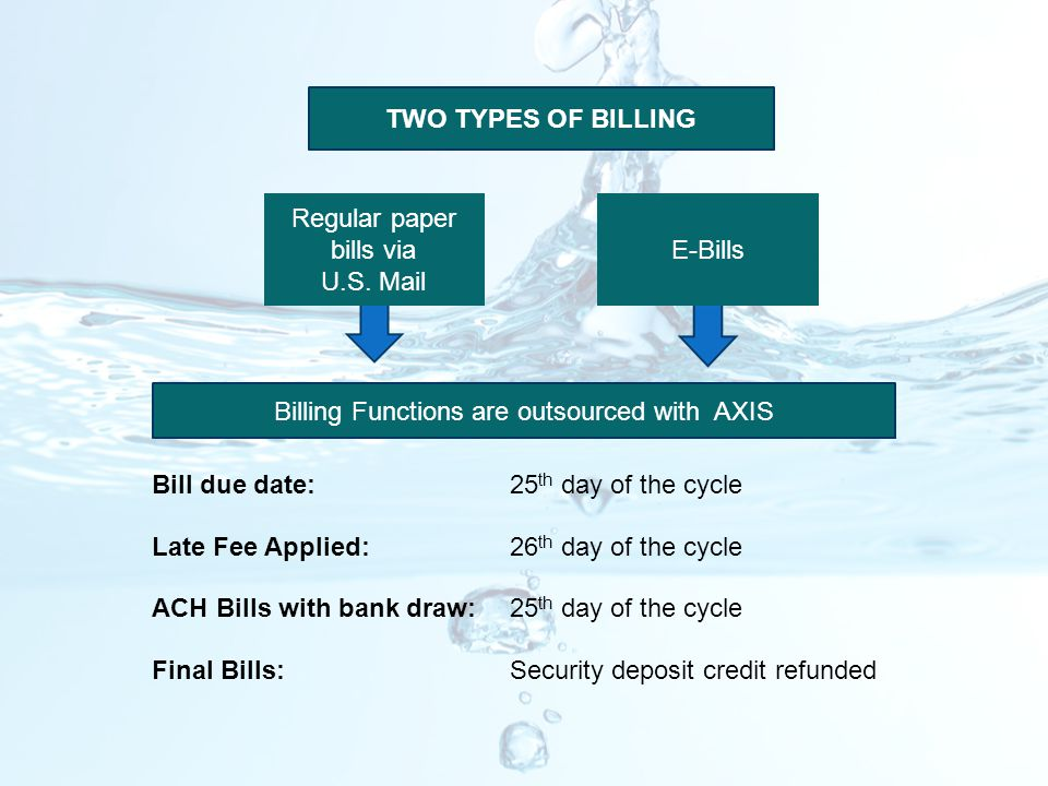 TWO TYPES OF BILLING Billing Functions are outsourced with AXIS Bill due date:25 th day of the cycle Late Fee Applied:26 th day of the cycle ACH Bills