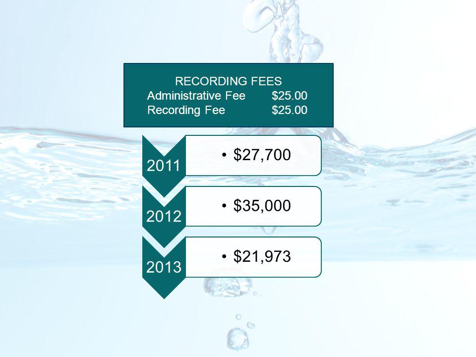 2011 $27,700 2012 $35,000 2013 $21,973 RECORDING FEES Administrative Fee$25.00 Recording Fee$25.00