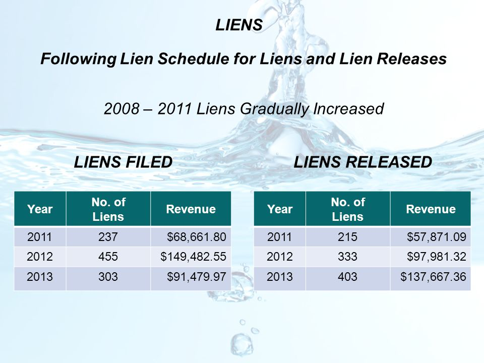 LIENS FILEDLIENS RELEASED LIENS Following Lien Schedule for Liens and Lien Releases 2008 – 2011 Liens Gradually Increased Year No. of Liens Revenue 20